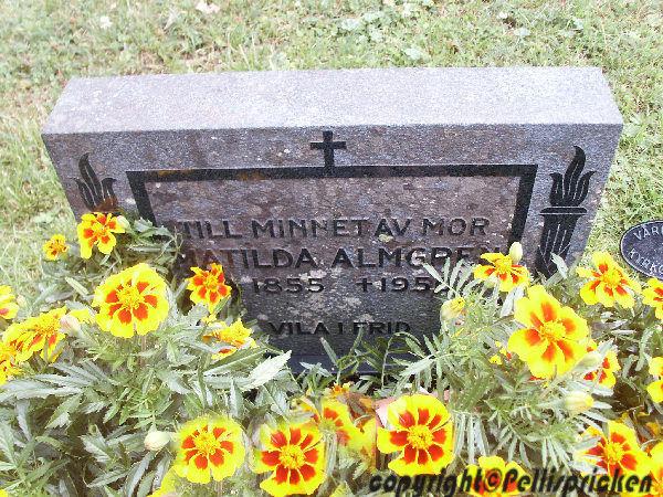 Matilda Almgrens gravsten. Vikers Kyrkogård